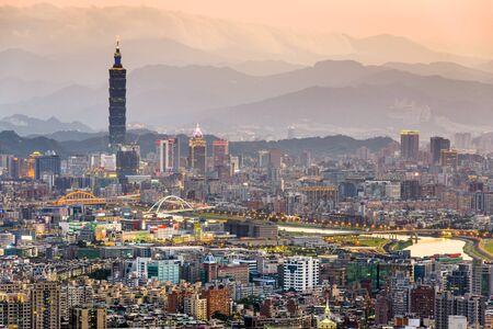 districts: Taipei, Taiwan city skyline.