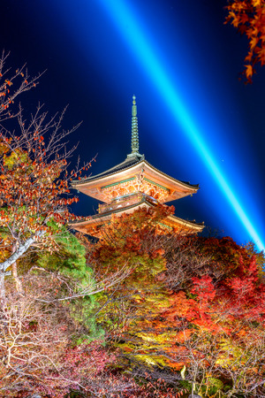 Kyoto, Japan at the pagoda of Kiyomizu-dera Shrine at night. Editorial