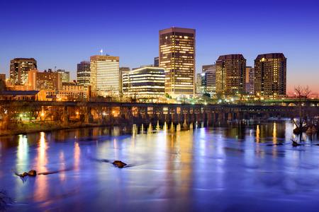 james: Richmond, Virginia, USA downtown skyline on the James River.