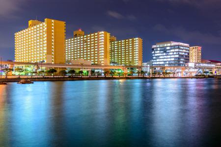 Naha, Okinawa, Japan night cityscape.