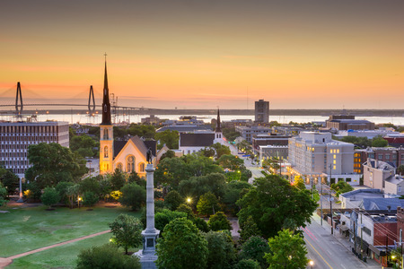 and south: Charleston, South Carolina, USA skyline over Marion Square. Stock Photo