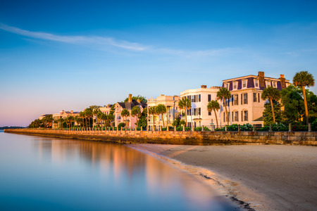 south park: Charleston, South Carolina, USA at the historic homes on The Battery. Stock Photo