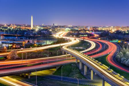 Washingon, DC, 미국 밤에 스카이 라인.