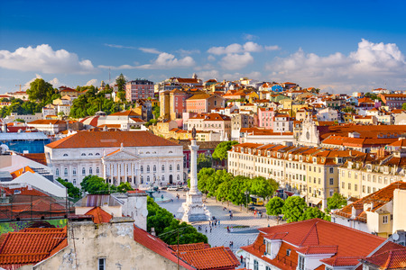 Lisbon, Portugal skyline view over Rossio Square. 스톡 콘텐츠