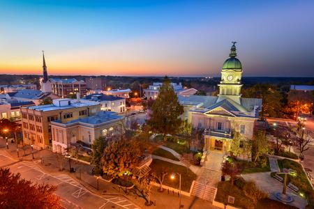 towns: Athens, Georgia, USA downtown skyline.