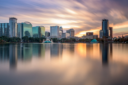 florida: Orlando, Florida, USA skyline at Eola Lake.