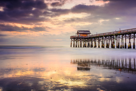 waterfront: Cocoa Beach, Florida, USA at the pier. Stock Photo