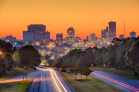 Skyline of downtown Columbia, South Carolina from above Jarvis Klapman Blvd. Banco de Imagens