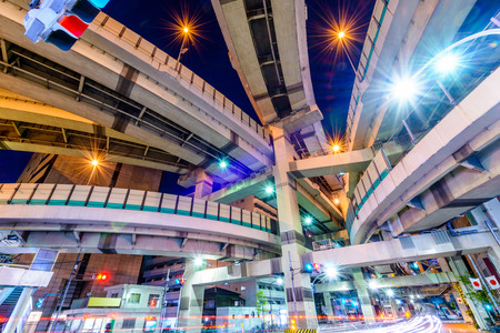 expressway: Tokyo, Japan cityscape and expressway junction.