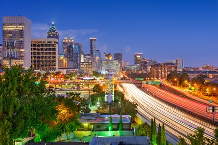 atl: Atlanta, Georgia, USA downtown skyline over Interstate 85.
