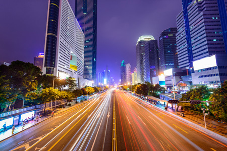 Shenzhen, China downtown cityscape. Imagens