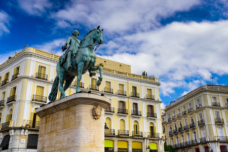 Madrid, Spain at the King Charles III equestrian statue in Puerta del Sol.