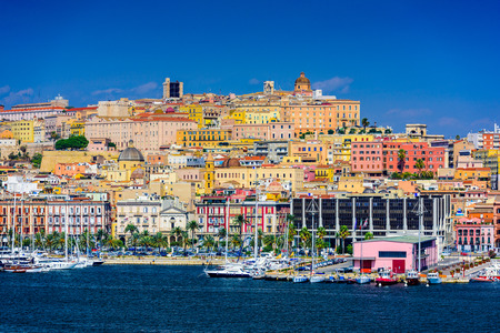 water scape: Cagliari, Sardinia, Italy coastal skyline on the Mediterranean Sea.