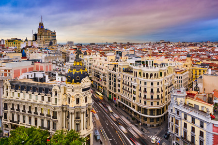 Madrid, Spain cityscape above Gran Via shopping street.