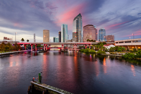 usa cityscape: Tampa, Florida, USA downtown city skyline over the Hillsborough River.