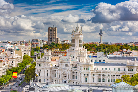 palaces: Madrid, Spain cityscape with Communication Palace and Torrespana Tower. Stock Photo
