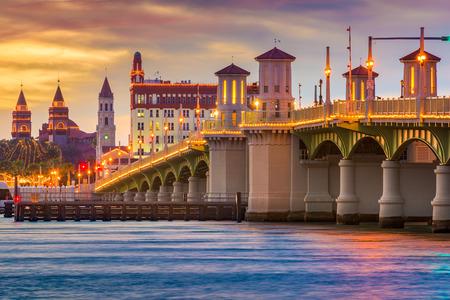 waterway: St. Augustine, Florida downtown skyline. Stock Photo