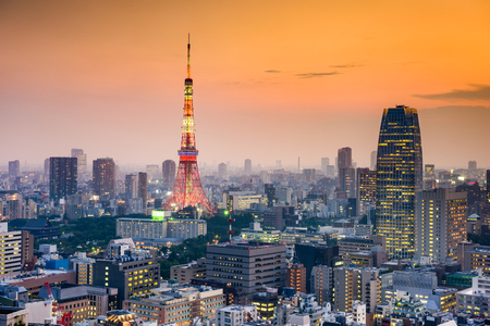 business asia: Tokyo, Japan at dusk. Stock Photo