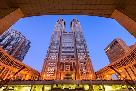 metropolitan: TOKYO, JAPAN - AUGUST 3, 2015: The Tokyo Metropolitan Government building. The building is headquarters of the Tokyo Metropolitan Government which governs 23 wards and outlying cities of Tokyo.
