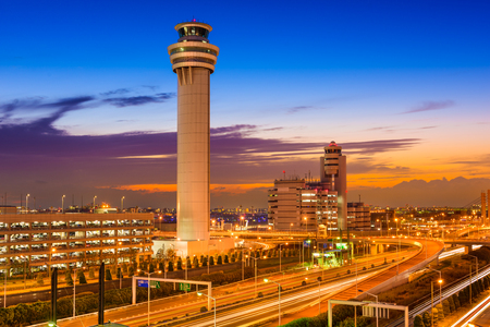 traffic control: Haneda Airport control tower in Tokyo, Japan.