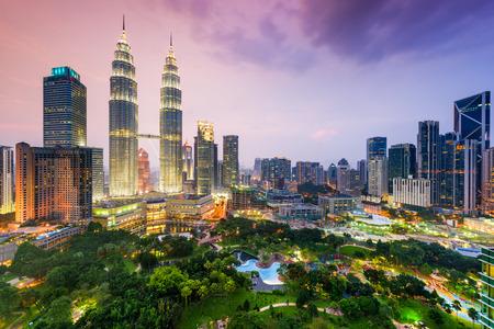 쿠알라 룸푸르, 말레이시아 도시의 스카이 라인.