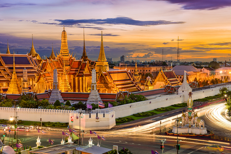 thailand view: Bangkok, Thailand at the Temple of the Emerald Buddha and Grand Palace. Stock Photo