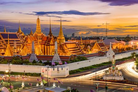 bangkok landmark: Bangkok, Thailand at the Temple of the Emerald Buddha and Grand Palace. Stock Photo