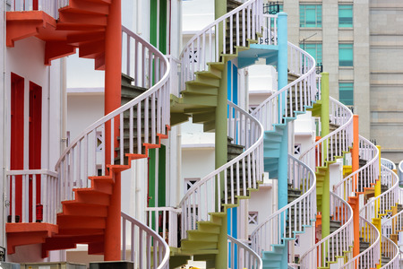singapore: Singapore at  Bugis Village spiral staircases. Stock Photo