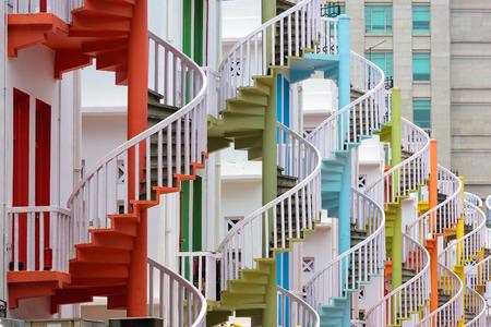 espiral: Singapur en escaleras de caracol Bugis Village.