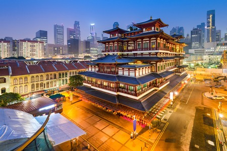 historical building: Singapore at the Buddha Tooth Relic Temple.
