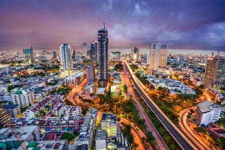 asia people: Bangkok, Thailand twilight cityscape.