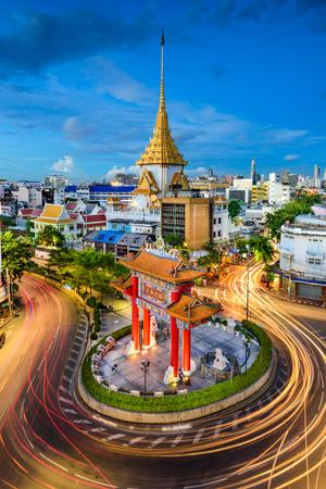 wat traimit: Bangkok, Thailand at Chinatowns traffic circle and Wat Traimit. (Gate reads Long Live the King)