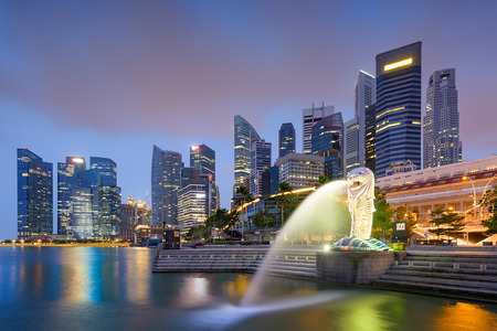 Singapore skyline at the fountain.