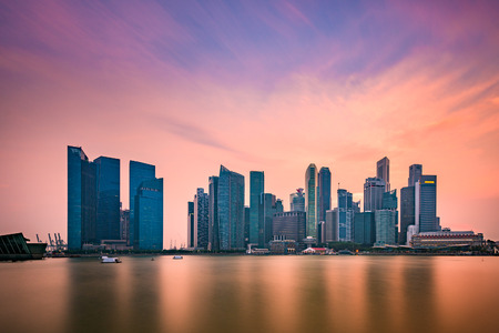 singapore city: Singapore skyline at Marina Bay.