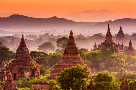burmese: Bagan, Myanmar old temples. Stock Photo