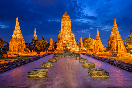 Ayutthaya, Thailand at Wat Chaiwatthanaram. Stock Photo