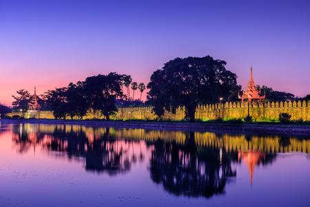 palaces: Mandalay, Myanmar at the royal palace moat. Editorial
