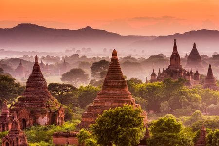 tourist attraction: Bagan, Myanmar acient temples in the archeological zone.