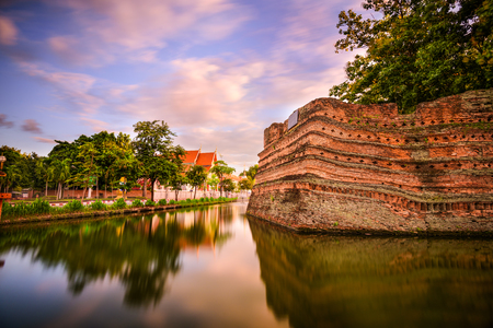 old city: Chiang Mai, Thailand old city ancient wall and moat.