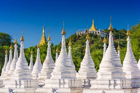 stupas: Sandamuni Pagoda Temple stupas in Mandalay, Myanmar. Stock Photo