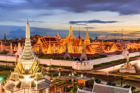 the grand palace: Bangkok, Thailand at the Temple of the Emerald Buddha and Grand Palace. Stock Photo