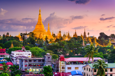burmese: Yangon, Myanmar skyline at Shwedagon Pagoda.