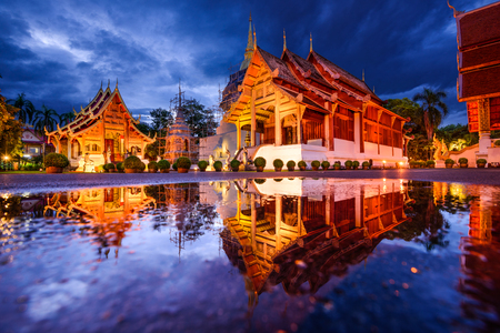 thailand view: Wat Phra Singh in Chiang Mai, Thailand. Stock Photo