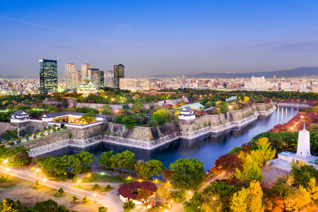 Osaka, Japan skyline at Osaka Castle Park. Stock Photo