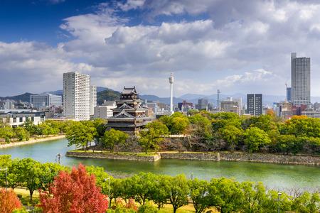 Hiroshima, Japan city skyline at the castle.