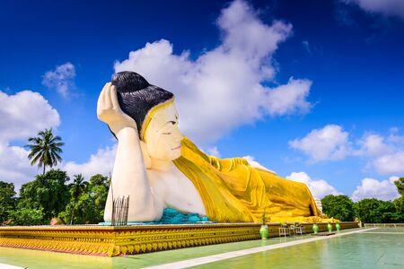 tha: Bago, Myanmar at Mya Tha Lyaung reclining buddhia. Stock Photo