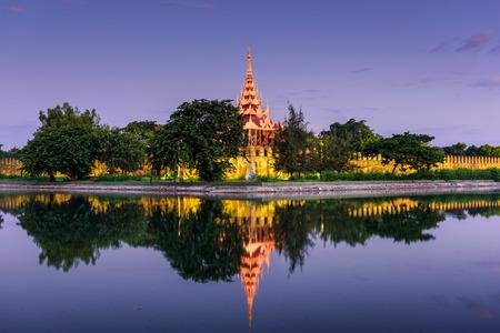 moat wall: Mandalay, Myanmar at the palace wall and moat