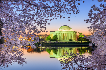 seaonal: Washington, DC at the Jefferson Memorial during spring.