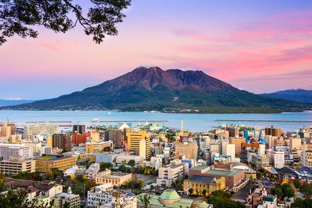 鹿児島県桜島火山と。 写真素材