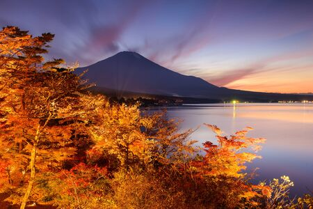 koyo: Fuji Mountain, Japan from Yamanaka Lake in the autumn.